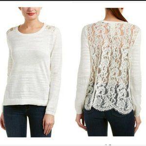 CAbi | #5005 Sophia Lace Back Sweater M